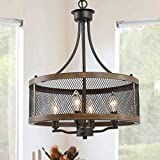 """Farmhouse Chandeliers for Dining Room, Vintage Pendant Lighting for Living Room, Drum Hanging Light Fixture of 4-Light, Oil Black & Faux Wood Finish, 16"""" in Diameter"""