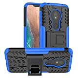PUSHIMEI Moto G7 Play Case,T-Mobile Revvlry Case,Moto G7 Optimo case, with Kickstand Hard PC Back Cover Soft TPU Dual Layer Protection Phone Case Cover for Motorola Moto G7 Play (Blue Kickstand case)