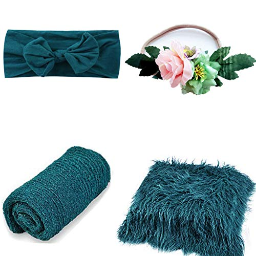 4 Pcs Newborn Photography Props Outfits- Baby Dark Green Long...
