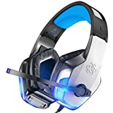 BENGOO V-4 Gaming Headset for Xbox One, PS4, PC, Controller, Noise Cancelling Over Ear Headphones with Mic, LED Light Bass Surround Soft Memory Earmuffs for PS2 Mac Nintendo 64 Game Boy Advance Games