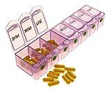 7 Day Push Button Weekly Pill Organizer - Pill Case ∣ Pill Box - Pill Holder ∣ Pill Dispenser and Vitamin Organizer - Pill Box 7 Day by Survive Vitamins, Translucent Purple, Weekly Pill Box Big Size