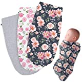Henry Hunter Baby Swaddle Cocoon Sack   The Simple Swaddle   Soft Stretchy Comfortable Cotton Receiving Blanket for Infants & Newborns 0-3 Months (Garden   Rose   Light Heather)