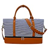Weekender Bag Carry on Overnight Duffel for Women, Carrying Weedkend Travel Bags for Ladies, Large Canvas& PU Leather with Shoe Compartment Duffle (Blue Strips)