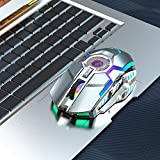 Best Choice Rechargeable Wireless Mouse Silent Ergonomic Gaming Mouse RGB Backlight for Laptop Computer ZERODATE-T30GY RGB