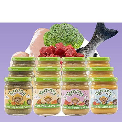 Yammy, Pack Potitos Comida (Verduras, Pollo, Ternera y Lubin