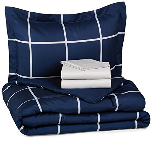 AmazonBasics 5-Piece Light-Weight Microfiber Bed-In-A-Bag Comforter Bedding Set - Twin or Twin XL, Navy Simple Plaid