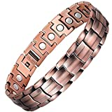 Feraco Elegant 99.99% Pure Copper Bracelet for Men Wide Copper Magnetic Bracelets with Strong Magnets, 8.58 Inch Adjustable