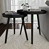 Lavish Home Contemporary Decor and Home Accent Table with Tray Top (Black, Set of 2),