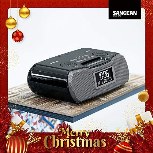 Sangean RCR-20 FM-RDS (RBDS) AM/Bluetooth/Aux-in/USB Phone Charging Digital Tuning Clock Radio with Battery Backup, Black, 13.8X 13.1x 4.9