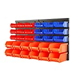 HORUSDY Wall Mounted Storage Bins Parts Rack 30PC Bin Organizer Garage Plastic Shop Tool, Tools for Men Tools Gift