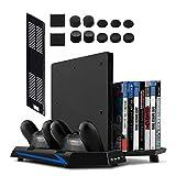 Younik Soporte Vertical para PS4 / PS4 Slim con ventiladores, estación de carga para dos controles, estante de almacenamiento para 14 juegos