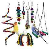 Meiso Lot de 7 jouets à mâcher pour oiseaux avec perchoirs,...