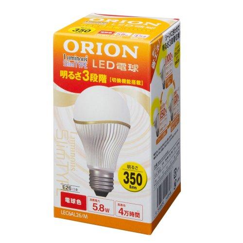 ルミナス LED電球 スリムタイプ 3段階調光機能付き 口金E26 電球色 350lm 30W相当 LEC6AL26/M (Luminous / ...