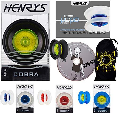 Henrys Cobra YoYo - AXYS-Systemachse Slider mit High-Speed-Lager + Lernen Yo Yo Tricks DVD & Henrys Yoyo-Trickheft + Reisetasche! Yoyo Profi für Kinder und Erwachsene! (Schwarz/Gelb)