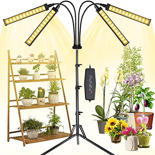 MICCYE Pflanzenlampe LED mit Ständer, 192 LEDs 4 Heads Pflanzenlicht 360°Einstellbar mit Adapter, Zeitschaltuhr 3/6/12H, 4 Modus, Pflanzenleuchte 0-100% Dimmen