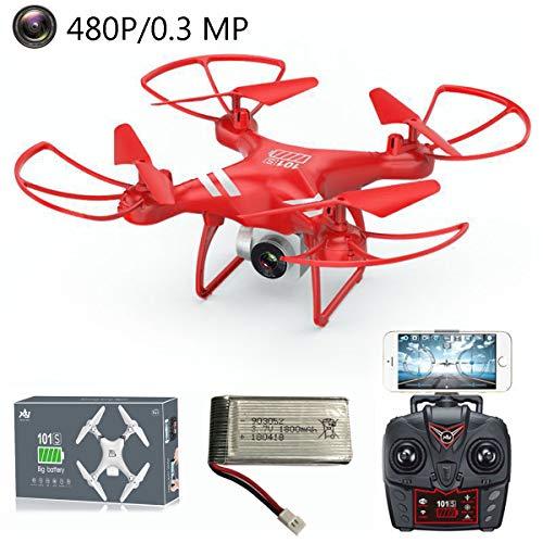 APJS KY101S Fixed-Wing 2.4G WiFi FPV Drone Quadcopter 480P Action Cam Rimovibile per Principianti Teens, RC Quadricottero Kit Montaggio, 3D Filp, velocit Regolabile, modalit Headless,Rosso