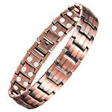 Feraco Magnetic Copper Bracelet for Men Arthritis Pain Relief Health 99.99% Solid Copper Strong Double-Row Magnet Bracelets