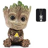 Baby Groot Maceta, maceta para macetas suculentas Tree Man, maceta para plantas verdes con orificio de drenaje, portalpices, adorno de oficina, maceta para regalo de cumpleaos, Navidad (Grande)