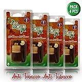 Les Arômes - Mini Bottle Deodorante Auto da Appendere, Bottiglia in Vetro e Tappo in Legno. Fragranza: Anti Tabacco - Pack 4 PZ