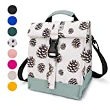 Sunny Bird Insulated Lunch Bag Rolltop Lunch Cooler Cute Lunch Tote for Women, Girls, Teens and Kids (Pinecone)