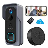 Video Doorbell Camera BOIFUN WiFi Smart Wireless HD 1080P Battery Camera Chime Motion-Activated Push Alert Two-Way Talk IP66 Waterproof Night Vision Home Security[Pre-Installed 32GB SD Card]