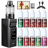 E Zigarette Starter Set 80W, LHHWEI Box Mod Kit und 10x10ml E liquid,2000mah Akku und 3,5ml Top Refill Verdampfer und 0.5 Ohm Verdampferköpfe Kein Nikotin Schwarz