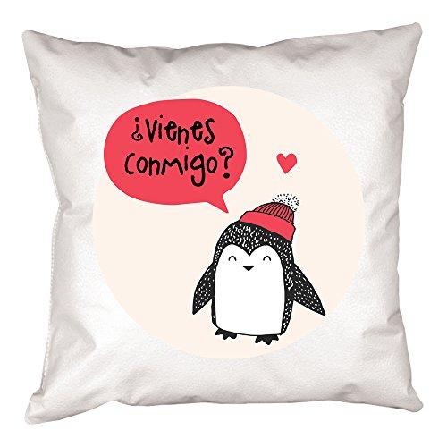 Calledelregalo Cojín personalizado pingüino - Regalo original y divertido para el cumpleaños de un amigo, tu pareja en vuestro aniversario, Navidad, Día de la Madre, Día del Padre. (Pingüino rojo)
