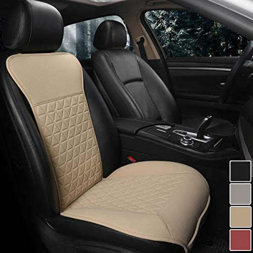 Black Panther 1 Piece Luxury PU Leather Front Car Seat Cover Protector Compatible with 95% Cars (Sedan/SUV/Pickup/Van), Triangle Quilted Design - Beige