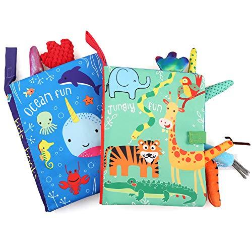 BelleStyle Livre Bebe Tissu, 2Pcs Livre de Tissu de Queue, Jouet Naissance Livre de Bain, Educatif en Tissu Jouets pour Enfants, Book Baby, 3D Toucher Soft Book Exercice de Intelligence Jouet Cadeau