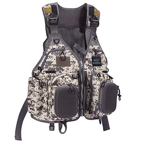 Bassdash Gilet de pêche à la mouche avec plusieurs poches - Taille réglable - Cadeaux pour homme et femme (F22 - Camouflage gris)