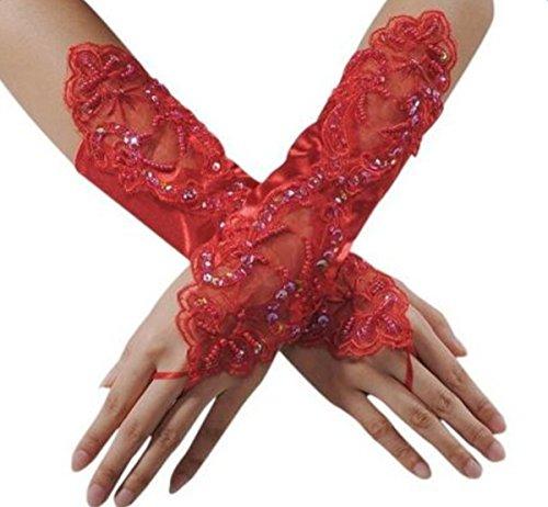 Weimay sposa guanti,Guanti donna pizzo floreale guanti da sposa guanti da sera lunghi da sera senza...