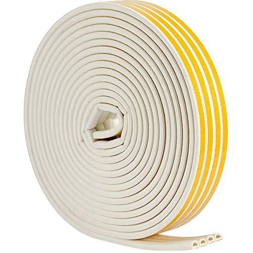 Seal Weather Stripping White - 52Feet/16m Epdm Foam Seal Strip by Savina, Anti-Collision Self Adhesive. Best Weatherstrip for Door/Window - 4 Seal (D Type - White)