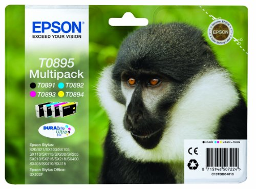 Epson T089 Serie Scimmia, Cartuccia Originale Getto d'Inchiostro DURABrite Ultra, Formato Standard, Multipack 4 Colori, con Amazon Dash Replenishment Ready