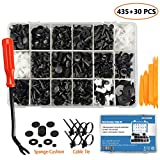 EZYKOO 465 Pcs Car Retainer Clips & Plastic Fasteners Kit - 19 Most Popular Sizes Auto Push Pin Rivets Set -Door Trim Panel Clips Compatible with GM Ford Toyota Honda Chrysler