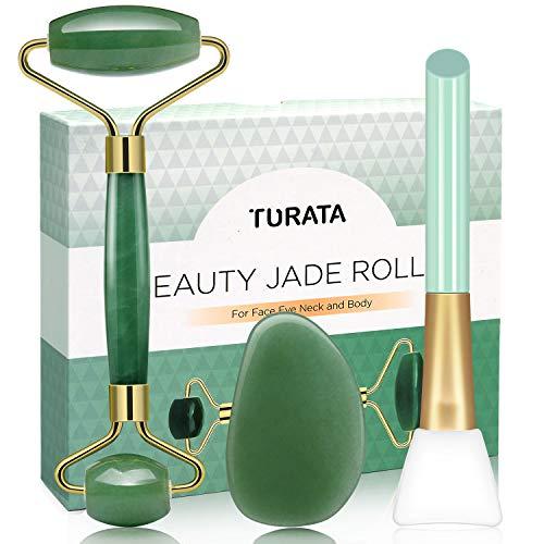 Rodillo de Jade, TURATA Facial Masaje Piedra Gua Sha Jade, Antienvejecedor Belleza Natural...