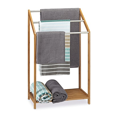 Relaxdays 10020291 Porte-serviette Bambou/Metal Nature 31 x 51 x 85 cm