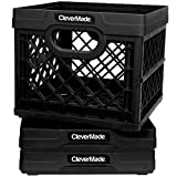 CleverMade Milk Crates, 25L Plastic Stackable Storage Bins CleverCrates Utility Folding Baskets, Pack of 3, Black