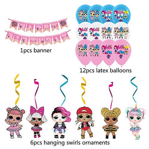 Image 2 - smileh Lol Anniversaire Décoration Lol Ballon Bannière de Joyeux Anniversaire de Lol Tourbillons Suspendus de Lol Surprise Dolls pour Fête d'anniversaire ou Fête d'anniversaire