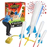 Stomp Rocket The Original Jr. Glow Rocket Launcher, 4 Foam Rockets and Toy Air Rocket Launcher - Glows in The Dark, STEM Gift for Boys and Girls Ages 3 Years and Up - Great for Year Round Play (Toy)