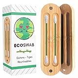 EcoSwab Coton Tige Réutilisable Pour Les Oreilles, Embouts Lavable en Silicone et Boite en Bambou...