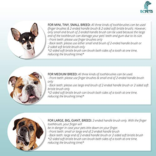 BC Pets Dog Toothbrush for Dogs & Cats - Dog Dental Care Kit with 2 x Finger Pet Tooth Brush, 2-Ended Dog Tooth Brush & Dual-Head Puppy Toothbrush - Small, Medium, Large Breed Dog Teeth Cleaning Set