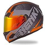 NENKI Helmets NK-856 Full Face Motorcycle Helmets DOT Approved with Iridium Red Visor and Inner Sun Shield,Fiberglass Shell(L, Matt Black & Orange)