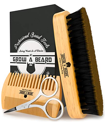 Beard Brush & Comb Set for Men's Care | Giveaway Mustache Scissors | Gift Box & Travel Bag | Best Bamboo Grooming Kit to Distribute Balm or Oil for Growth & Styling | Adds Shine & Softness