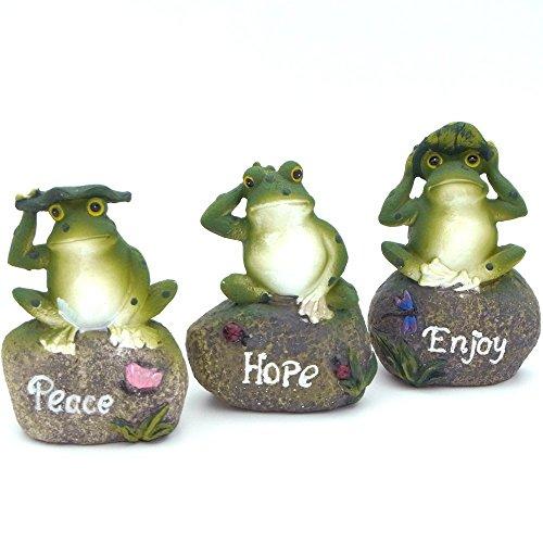 【福美康】かわいい カエルの置物 石の上 にも かえる 三兄弟 蛙 トリオ セット インテリア ガーデニング 庭園 人工 池 雑貨 オブジェ ガーデン オーナメント