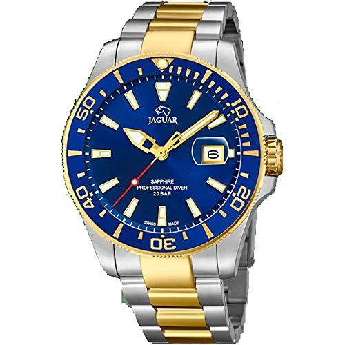 JAGUAR Uhrenmodell J863 / C aus der Executive-Kollektion, 43,5 mm blaues Gehäuse mit zweifarbigem Stahlarmband für Herren J863/C