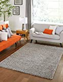 Unique Loom Solo Solid Shag Collection Modern Plush Cloud Gray Area Rug (9' x 12')