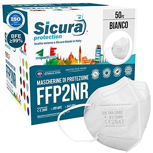 50 Mascherine FFP2 Certificate CE Made in Italy SICURA BFE ≥99% Mascherina Produzione italiana e Sanificata....