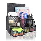 Organizador de escritorio de metal con 7 compartimentos, para oficina, tijeras, notas adhesivas