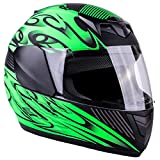 Typhoon Youth Full Face Motorcycle Helmet Kids DOT Street - Ships Same Day - Matte Green (Small)