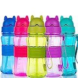 Bottiglia per l'acqua Bambini Senza BPA Borraccia Sportiva per Bambini con Tracolla (Blu)